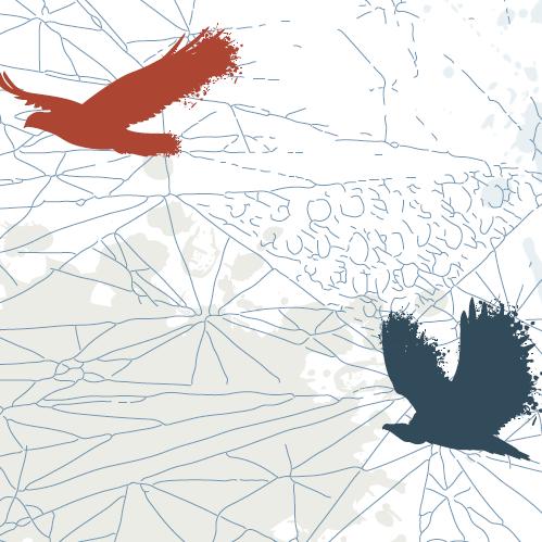 Die Silhouette dreier adlerähnlicher Vögel auf einem weißen Hintergrund mit blauen graphischen Linien.